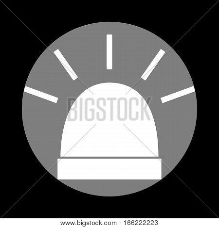 Police single sign. White icon in gray circle at black background. Circumscribed circle. Circumcircle.
