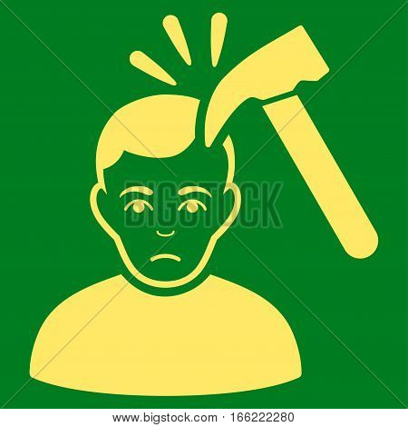 Murder With Hammer vector icon. Flat yellow symbol. Pictogram is isolated on a green background. Designed for web and software interfaces.