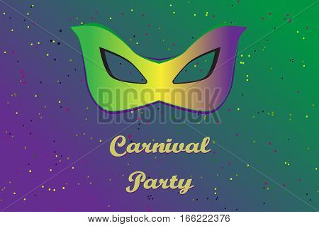 Picture ready for use in carnival thematic. Mask on vibrant background with confetti