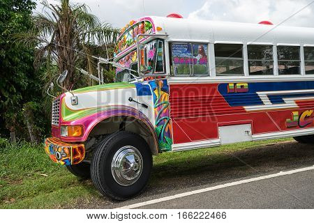 June 12 2016 Colon Panama: old schoolbuses are painted in bright colours and used for cheap public transportation in rural areas