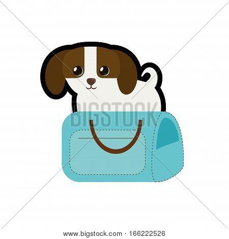 puppy little canine adorable blue pet carrier bag travel vector illustration eps 10