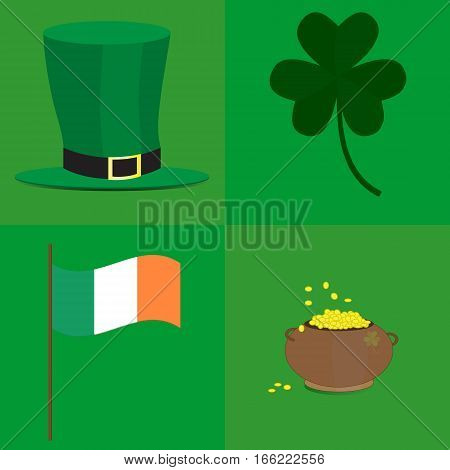 Leprechaun hat, pot of gold, shamrock and Irish flag on green background. Picture ready for use in St. Patrick holiday thematic.