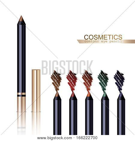 Eye pencil realistic items set with different colors isolated vector illustration