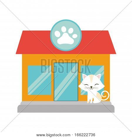 white cat stripes closed eyes pet shop facade paw print vector illustration eps 10