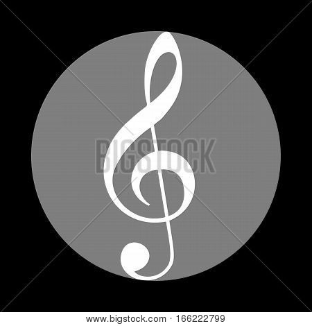 Music violin clef sign. G-clef. Treble clef. White icon in gray circle at black background. Circumscribed circle. Circumcircle.
