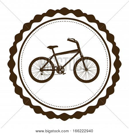 silhouette brown of bicycle in round frame vector illustration
