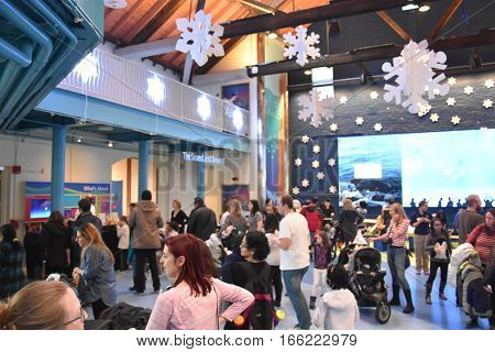 NORWALK, CT - DEC 31: New Years Eve celebration at the Maritime Aquarium in Norwalk, Connecticut, as seen on Dec 31, 2016. The