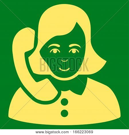 Receptionist vector icon. Flat yellow symbol. Pictogram is isolated on a green background. Designed for web and software interfaces.
