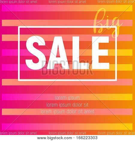 Summer poster for big sale with stripes pink and yellow