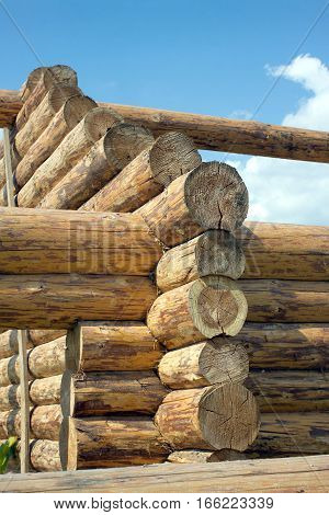 Construction of rural house from havy logs on a background of blue sky with clouds vertical photo closeup