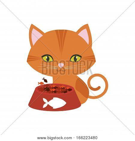 orange cat green eyes plate food fish print vector illustration eps 10