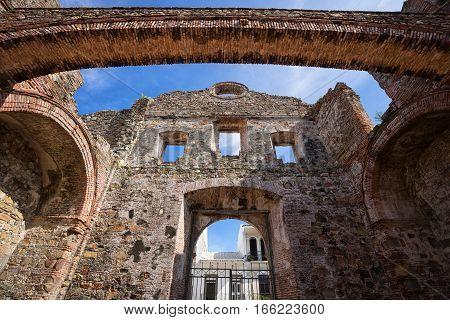 ruins of an old Spanish church in Casco Viejo Panama City