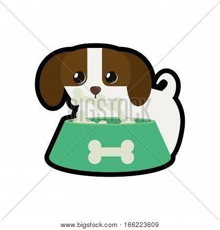 dog little canine adorable bowl food b print vector illustration eps 10