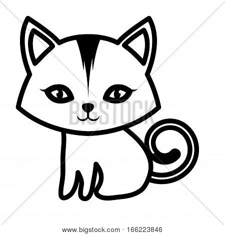 cat small mammal furry outline vector illustration eps 10