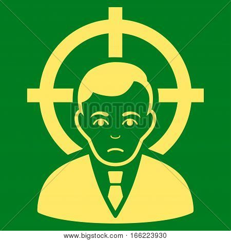 Victim Businessman vector icon. Flat yellow symbol. Pictogram is isolated on a green background. Designed for web and software interfaces.
