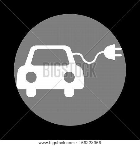 Eco electric car sign. White icon in gray circle at black background. Circumscribed circle. Circumcircle.