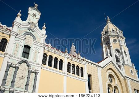 June 25, 2016 Panama City, Panama: renovated colonial cathedral facade closeup details in Casco Viejo Panama