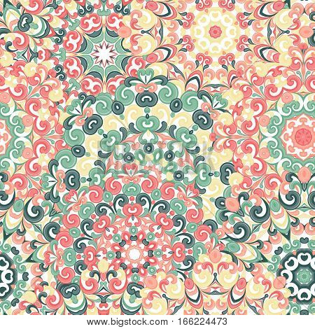 Seamless colorful ethnic pattern with mandalas in oriental style. Round doilies with green, red and yellow curls and swirls weaving in arabesque traditional lace ornament. Vector illustration.