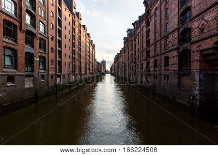 View Of The Speicherstadt, Also Called Hafen City,  In Hamburg, Germany
