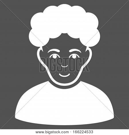 Brunet Man vector icon. Flat white symbol. Pictogram is isolated on a gray background. Designed for web and software interfaces.