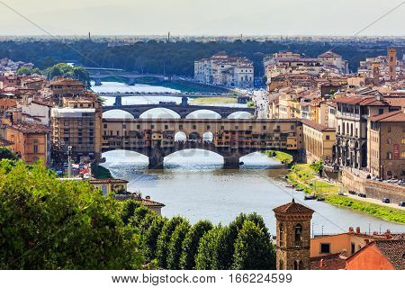 Viev Of The Ponte Vecchio In Florence On July 16, 2017. Florence Is The Capitol City Of The Tuscany