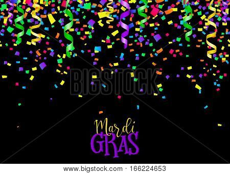 Vector illustration of cartoon seamless border background with carnival party confetti and serpentine decoration isolated on black for mardi gras