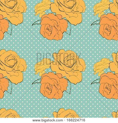 Vintage seamless pattern with orange roses on blue background with polka dots. Vector illustration for print on wrapping paper, fabric etc