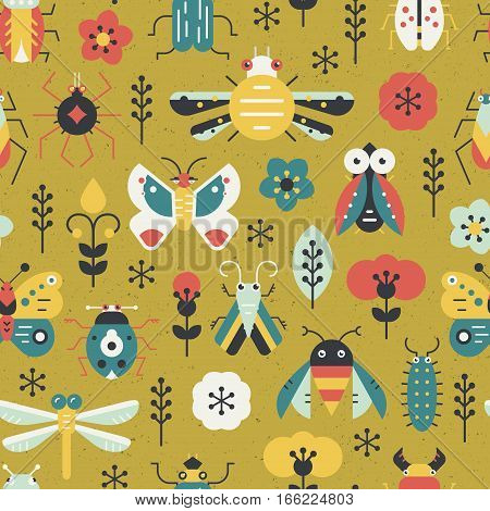 Beautiful geometric pattern with bugs and insects. Colorful seamless texture for your design made in vector.