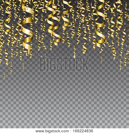 Vector illustration of cartoon seamless border background with carnival party serpentine decoration. Gold streamer isolated on transparent