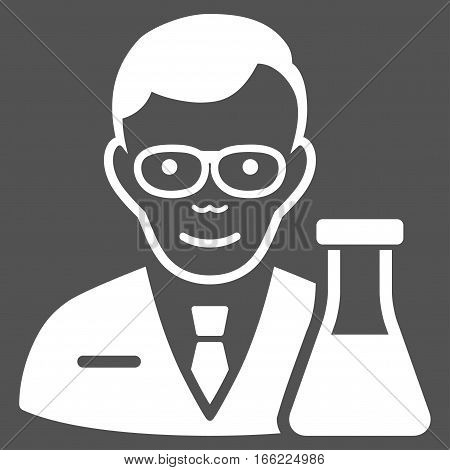 Chemist vector icon. Flat white symbol. Pictogram is isolated on a gray background. Designed for web and software interfaces.