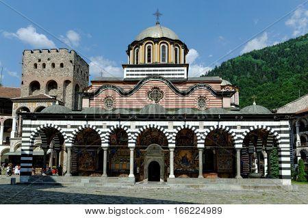 RILA MONASTERY, BULGARIA - JULY 13, 2011. World Heritage site Monastery of St. Ivan of Rila - Rila monastery with church Sveta Bogorodiza.