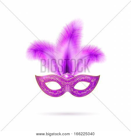 Vector illustration of violet luxury ornate Venetian carnival mask with colorful purple feathers and gold lace for Mardi Gras holiday