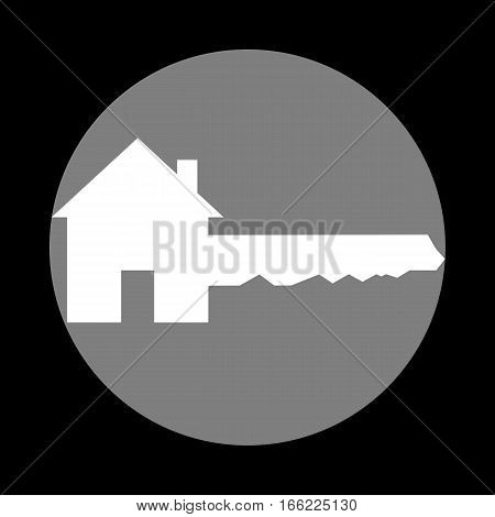 Home Key sign. White icon in gray circle at black background. Circumscribed circle. Circumcircle.