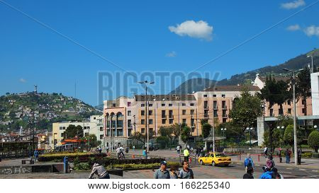 Quito, Pichincha / Ecuador - January 22 2016: Daily activity in the city of Quito with Virgen del Panecillo in background
