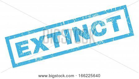 Extinct text rubber seal stamp watermark. Tag inside rectangular shape with grunge design and scratched texture. Inclined vector blue ink emblem on a white background.