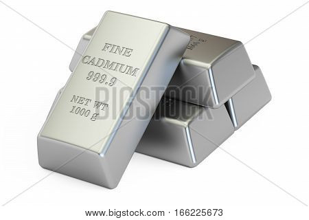 cadmium ingots 3D rendering isolated on white background