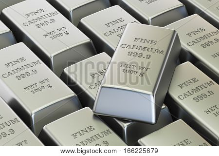 cadmium ingots background 3D rendering isolated on white background