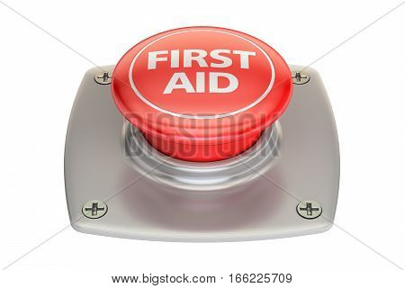 First Aid Red button 3D rendering isolated on white background
