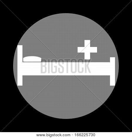 Hospital Sign Illustration. White Icon In Gray Circle At Black B