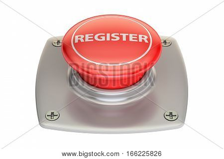 Register Red button 3D rendering isolated on white background