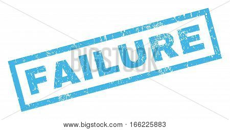 Failure text rubber seal stamp watermark. Tag inside rectangular shape with grunge design and unclean texture. Inclined vector blue ink sign on a white background.