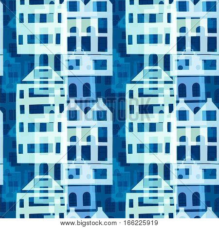 Seamless pattern with surreal houses in blue colors.