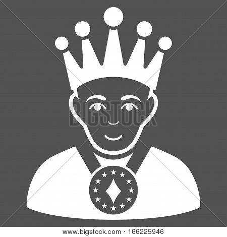 King vector icon. Flat white symbol. Pictogram is isolated on a gray background. Designed for web and software interfaces.