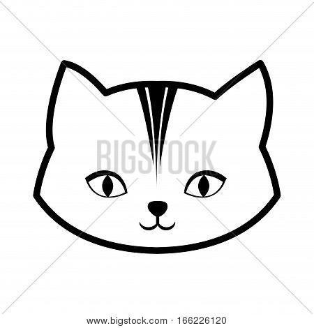 face cat feline curious small outline vector illustration eps 10
