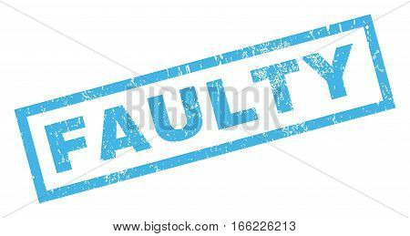 Faulty text rubber seal stamp watermark. Tag inside rectangular shape with grunge design and scratched texture. Inclined vector blue ink sign on a white background.