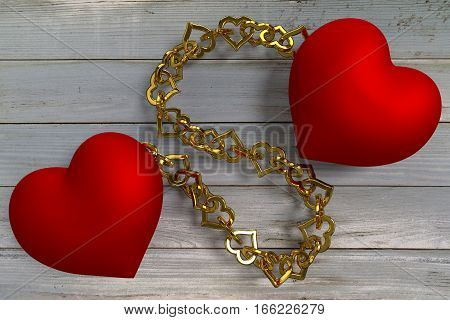two red hearts connected by golden chain, 3d rendering