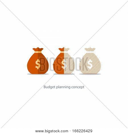 Budget capital planning, financial investment, money loss, sack icon, limit overdraft, pension savings account, fund deficit vector illustration