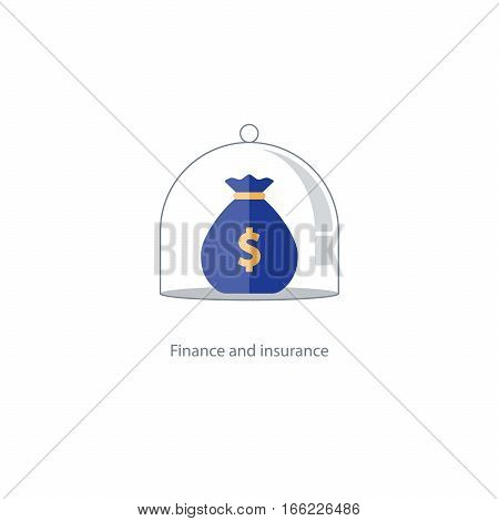 Financial safety plan, budget capital management, bank deposit savings account, pension fund icon, retirement money, superannuation concept, asset allocation, insurance policy vector illustration