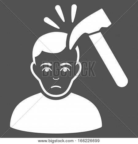 Murder With Hammer vector icon. Flat white symbol. Pictogram is isolated on a gray background. Designed for web and software interfaces.