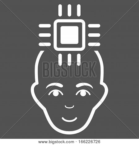 Neural Computer Interface vector icon. Flat white symbol. Pictogram is isolated on a gray background. Designed for web and software interfaces.